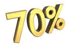 el 70 por ciento en el oro (3D) Foto de archivo libre de regalías