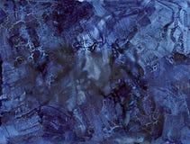 El añil azul agrietó el fondo abstracto - tinta en el papel Foto de archivo libre de regalías
