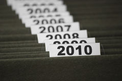 El año 2010 en ficheros del índice Foto de archivo