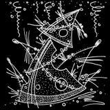 El año de la Navidad del Año Nuevo del ratón de la rata ocultó detrás del árbol del dibujo blanco y negro del queso stock de ilustración