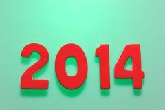 El año 2014 en números de madera junto Imagenes de archivo