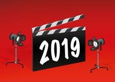 El año 2019 escrito en una tablilla de la película ilustración del vector