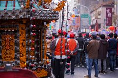 El Año Nuevo chino, el festival de linterna, aduanas populares taiwanesas, bendiciendo los rituales y los desfiles, frígidos esco Foto de archivo libre de regalías