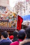 El Año Nuevo chino, el festival de linterna, aduanas populares taiwanesas, bendiciendo los rituales y los desfiles, frígidos esco Fotografía de archivo
