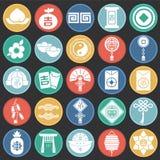 El Año Nuevo chino relacionó los iconos fijados en el fondo negro de los círculos de color para el gráfico y el diseño web Muestr stock de ilustración