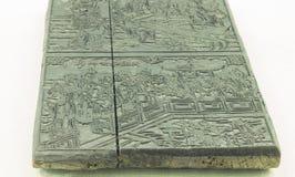 El Año Nuevo chino representa la placa tallada de madera Imagen de archivo