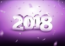 El Año Nuevo 2018 3d platea el fondo de los números con confeti confeti de la plata de la tarjeta de la celebración de 2018 días  libre illustration