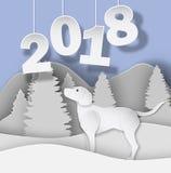 El Año Nuevo 2018 3d resume el ejemplo del corte del papel del perro, árbol, nieve, montañas stock de ilustración