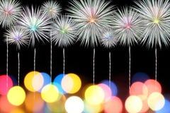 El Año Nuevo de la celebración de los fuegos artificiales en fondo negro Fotos de archivo libres de regalías