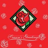 El Año Nuevo de la Navidad sazona la tarjeta de felicitación con Rose Imagenes de archivo
