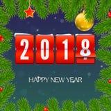 El Año Nuevo está viniendo 2018 El capítulo del abeto ramifica con el reloj, la serpentina y la bola mecánicos de la Navidad Feli Foto de archivo libre de regalías