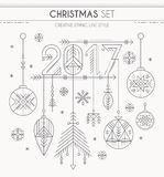 El Año Nuevo fijó - las decoraciones de la ejecución, 2017 firman y los copos de nieve ilustración del vector