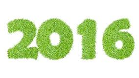 2016, el Año Nuevo hecho de la hierba verde, aislada en blanco puede Imágenes de archivo libres de regalías