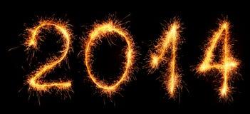 El Año Nuevo 2014 hizo con las bengalas. imagen de archivo libre de regalías