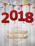 El Año Nuevo 2018 hizo punto la tela como decoración de la Navidad Fotografía de archivo libre de regalías