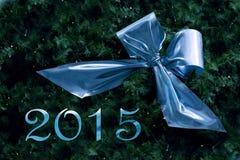 El Año Nuevo 2015, la cinta azul en abeto ramifica con la pequeña luz de hadas Fotos de archivo