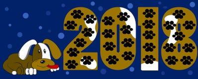 El Año Nuevo 2018, el perro miente cerca de las figuras, perro manchado stock de ilustración