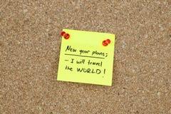 El Año Nuevo planea el mundo que viaja de las resoluciones Imagen de archivo libre de regalías