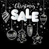 El Año Nuevo s juega estilo dibujado mano en negro con y nieve Tarjeta de felicitación del vector para la venta de la Navidad ilustración del vector