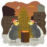 El Año Nuevo vuela el fuego del ejemplo del día de la gala del día de fiesta del abeto caliente Fotos de archivo libres de regalías
