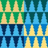 El Año Nuevo y el árbol de navidad duplican el ornamento inconsútil en un fondo coloreado Imagenes de archivo