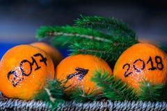 El año que cambia a partir de 2017 a 2018 Foto de archivo libre de regalías