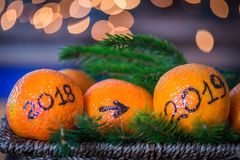 El año que cambia a partir de 2018 a 2019, concepto del Año Nuevo Fotos de archivo