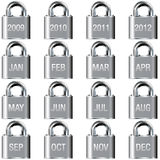 El año y el mes hacen calendarios iconos en los botones de bloqueo Fotos de archivo libres de regalías