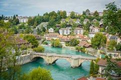 El Aare en Berna, Suiza Fotografía de archivo