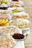 El abastecimiento mantiene la comida en la tabla al aire libre del partido Fotografía de archivo