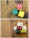 El ABC pone letras al deletreo de madera del fondo Foto de archivo libre de regalías