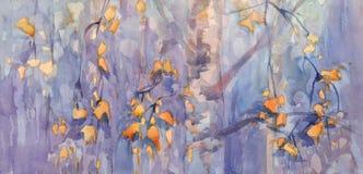 El abedul del otoño sale de la acuarela Foto de archivo libre de regalías