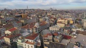 El abejón aéreo tiró de día soleado en Estambul, Turkie Desde arriba de, centro de ciudad, céntrico Bosphorus metrajes