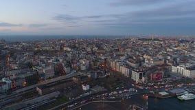 El abejón aéreo tiró de salida del sol en Estambul, Turkie Desde arriba de, centro de ciudad, céntrico Bosphorus almacen de metraje de vídeo