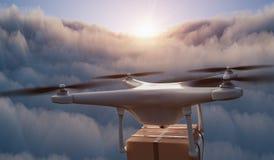 El abejón está volando en atmósfera sobre las nubes y está entregando el paquete 3D rindi? la ilustraci?n fotografía de archivo libre de regalías
