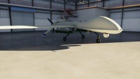 El abejón militar se coloca en su hangar en un día soleado representación 3d stock de ilustración