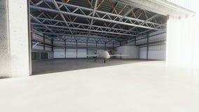 El abejón militar se coloca en su hangar en un día soleado representación 3d libre illustration