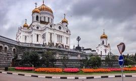 El abejón vuela cerca de la catedral de Cristo al salvador en Moscú Foto de archivo