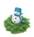 El abeto de la rama de la Navidad, muñeco de nieve Imagen de archivo