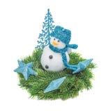 El abeto de la rama de la Navidad, muñeco de nieve Fotos de archivo libres de regalías