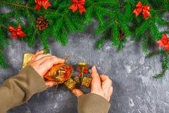 El abeto ramifica con los conos y el rojo arquea encima de un fondo concreto gris La Navidad del Año Nuevo Manos con un bolso de  Fotos de archivo libres de regalías