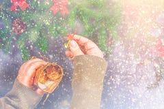 El abeto ramifica con los conos y el rojo arquea encima de un fondo concreto gris La Navidad del Año Nuevo Manos con un bolso de  Imagenes de archivo