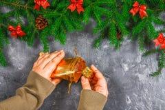 El abeto ramifica con los conos y el rojo arquea encima de un fondo concreto gris La Navidad del Año Nuevo Manos con un bolso de  Fotografía de archivo