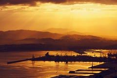 El Abra of Bilbao at golden sunrise Royalty Free Stock Photography