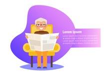 El abuelo está leyendo el periódico en su vector de la silla historieta Arte aislado en el fondo blanco libre illustration