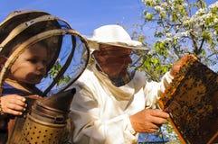 El abuelo y el nieto del apicultor examinan una colmena de abejas Fotografía de archivo