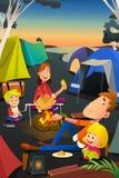 El acampar de la familia al aire libre stock de ilustración