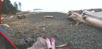El acampar de la playa de Rialto Imagen de archivo libre de regalías