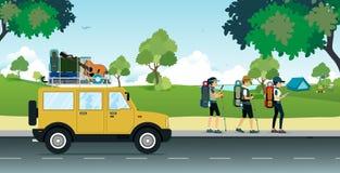 El acampar del coche stock de ilustración