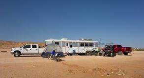 El acampar el fin de semana del Día del Trabajo en América Imagen de archivo